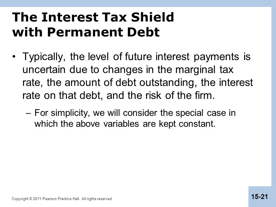 The Interest Tax Shield with Permanent Debt