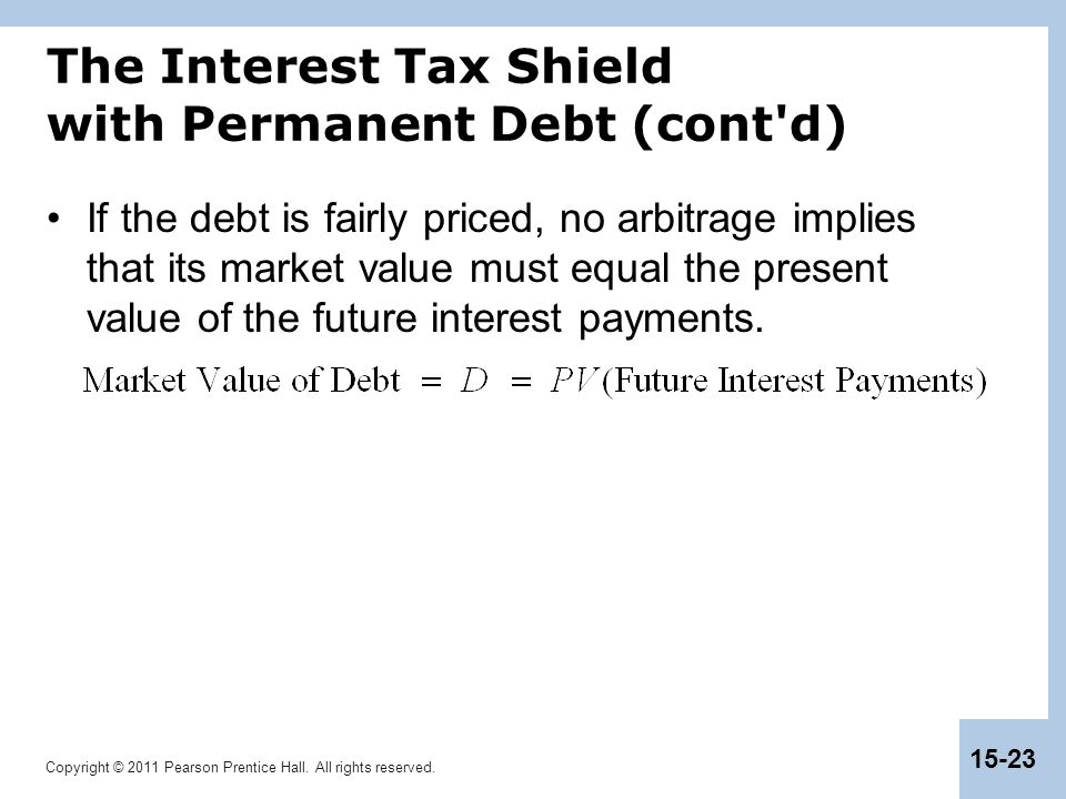 The Interest Tax Shield with Permanent Debt (cont d)