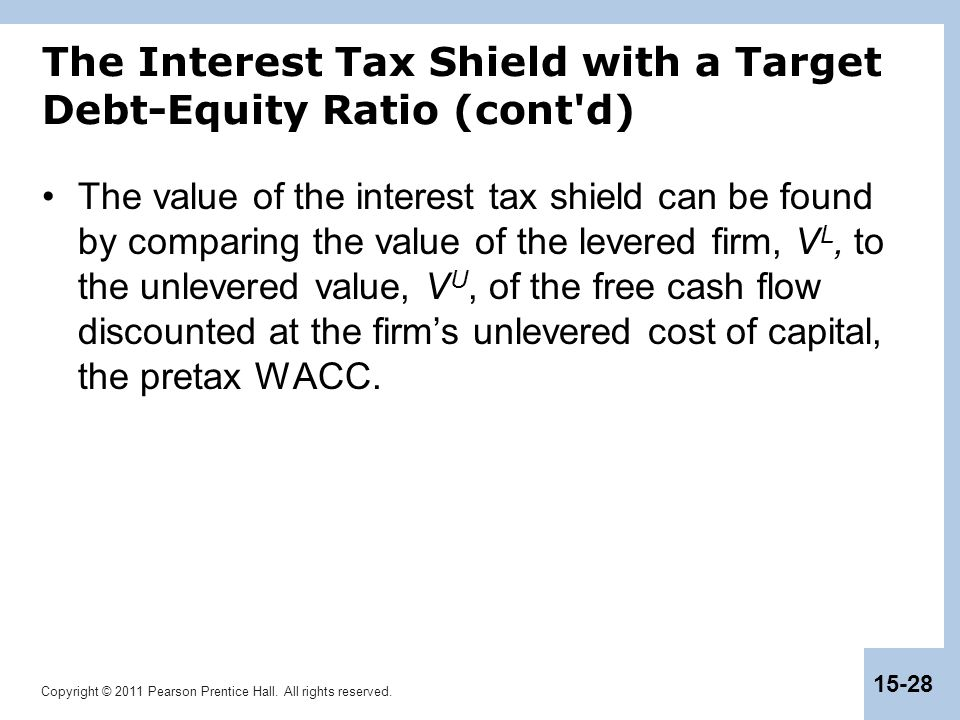 The Interest Tax Shield with a Target Debt-Equity Ratio (cont d)