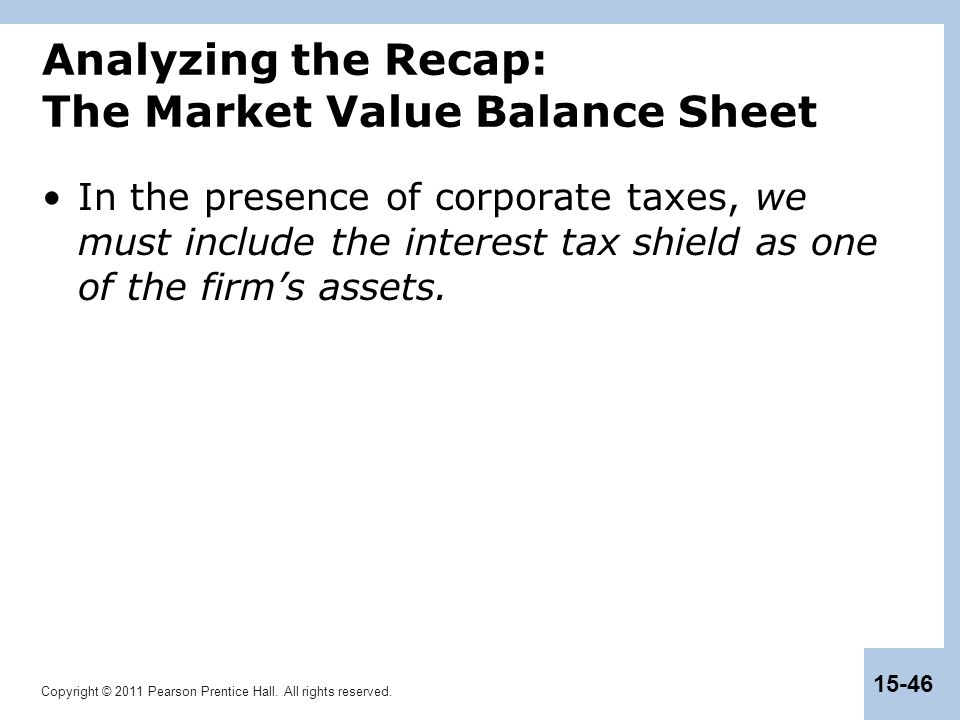 Analyzing the Recap: The Market Value Balance Sheet