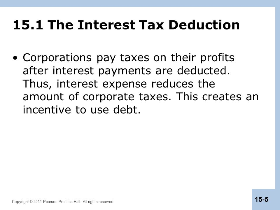 15.1 The Interest Tax Deduction