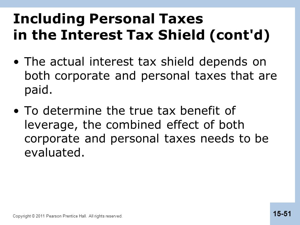 Including Personal Taxes in the Interest Tax Shield (cont d)