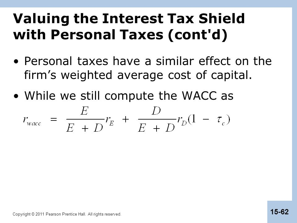 Valuing the Interest Tax Shield with Personal Taxes (cont d)