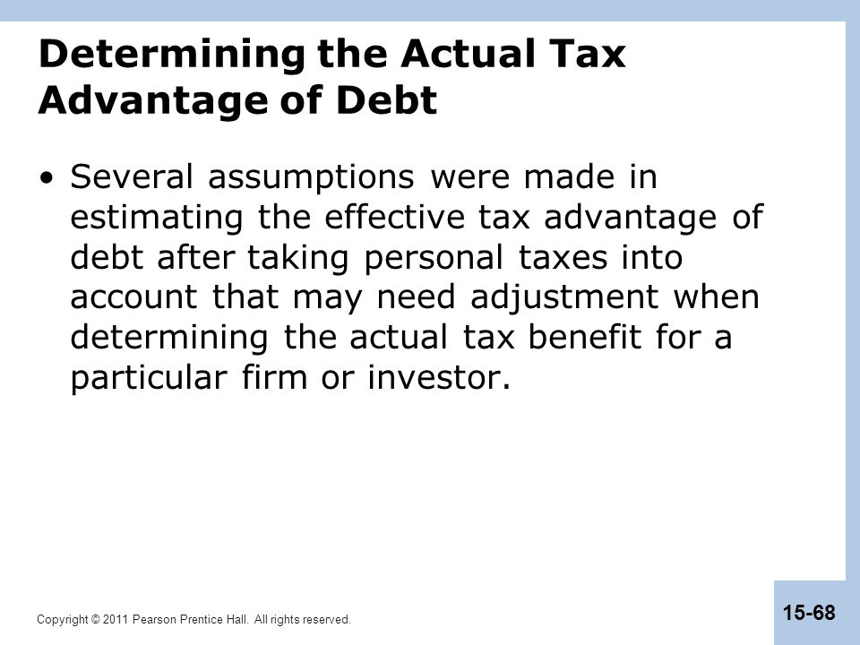Determining the Actual Tax Advantage of Debt