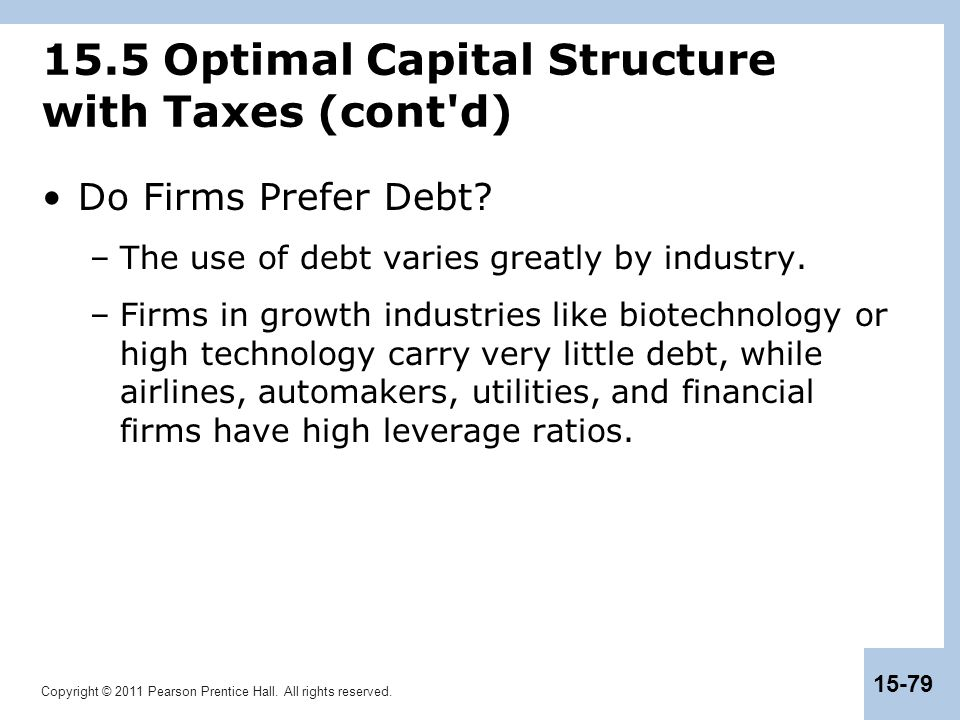 15.5 Optimal Capital Structure with Taxes (cont d)