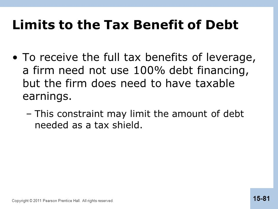 Limits to the Tax Benefit of Debt