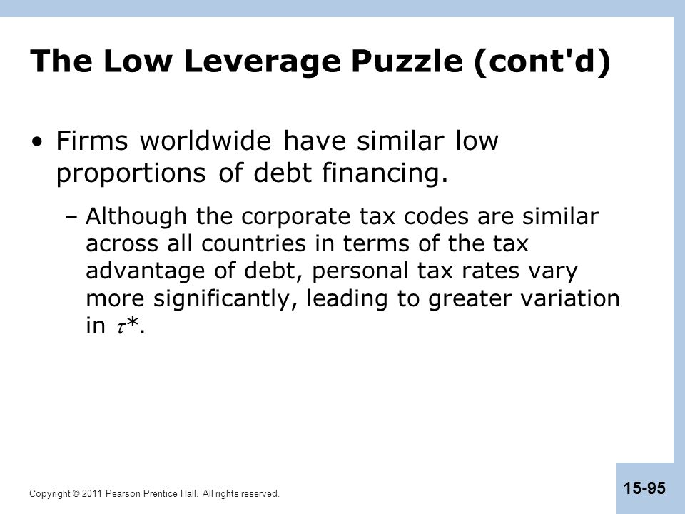 The Low Leverage Puzzle (cont d)
