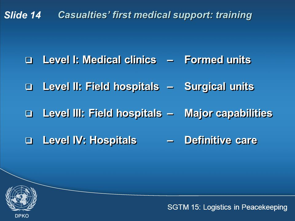 Casualties' first medical support: training