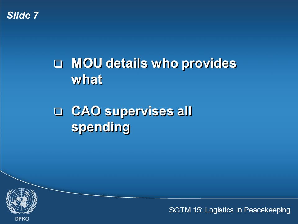 MOU details who provides what
