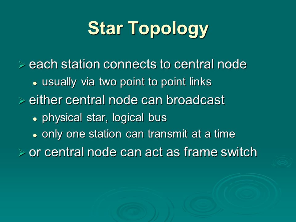 Star Topology each station connects to central node