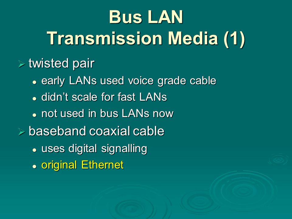 Bus LAN Transmission Media (1)