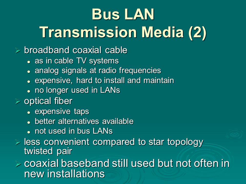 Bus LAN Transmission Media (2)