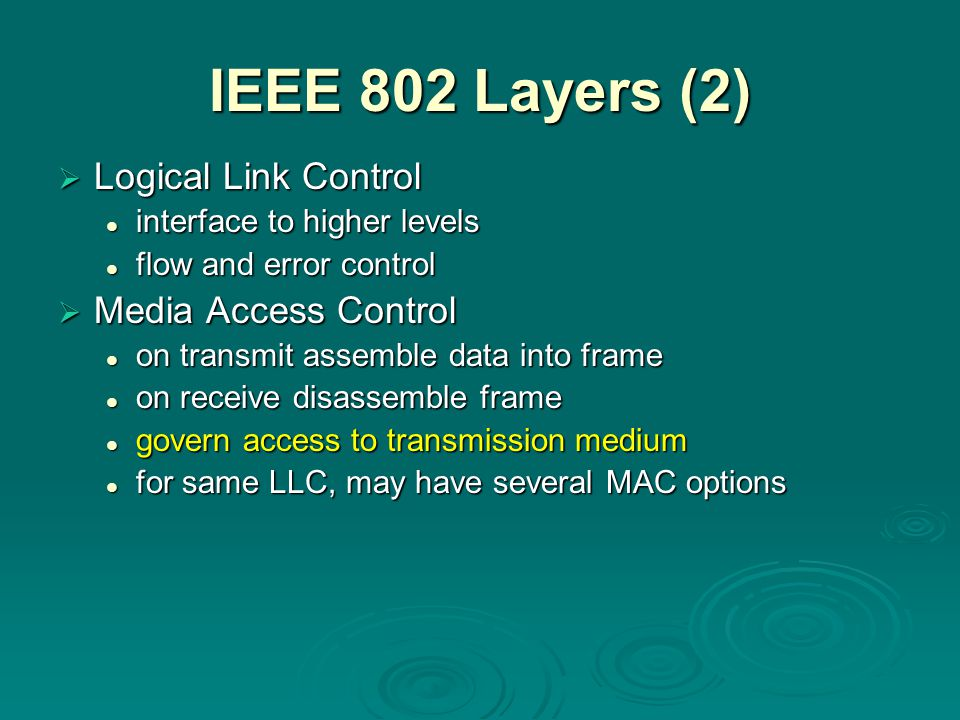 IEEE 802 Layers (2) Logical Link Control Media Access Control