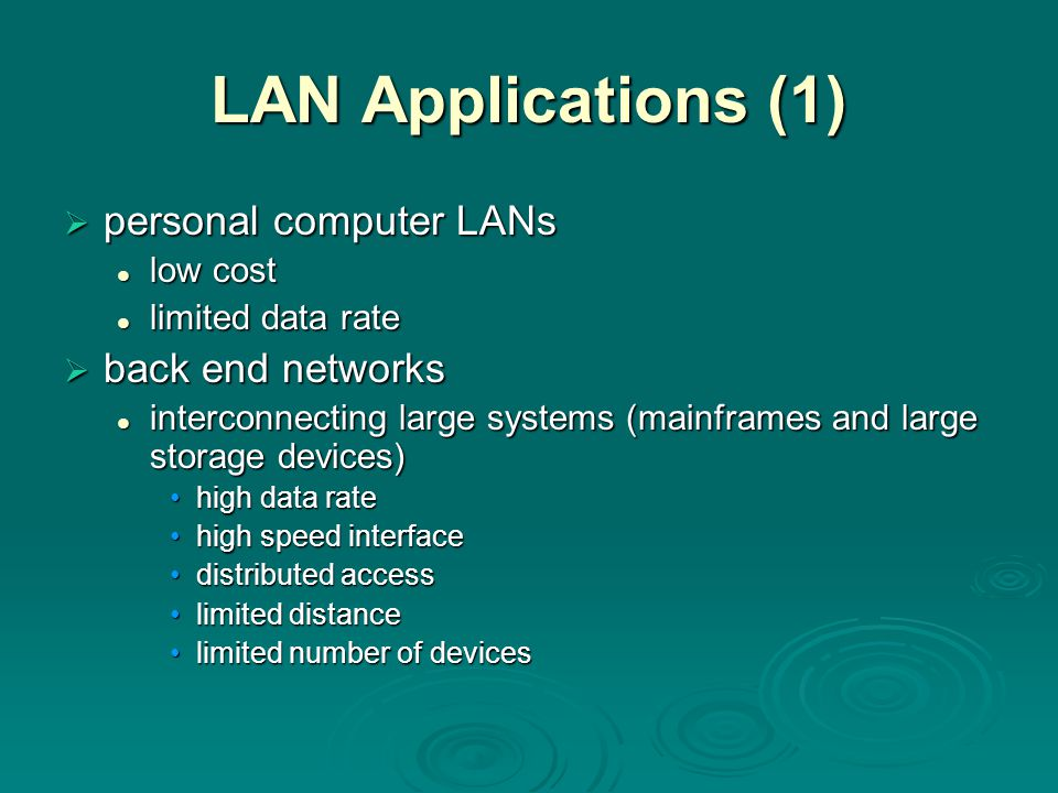 LAN Applications (1) personal computer LANs back end networks low cost
