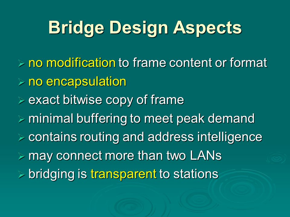 Bridge Design Aspects no modification to frame content or format