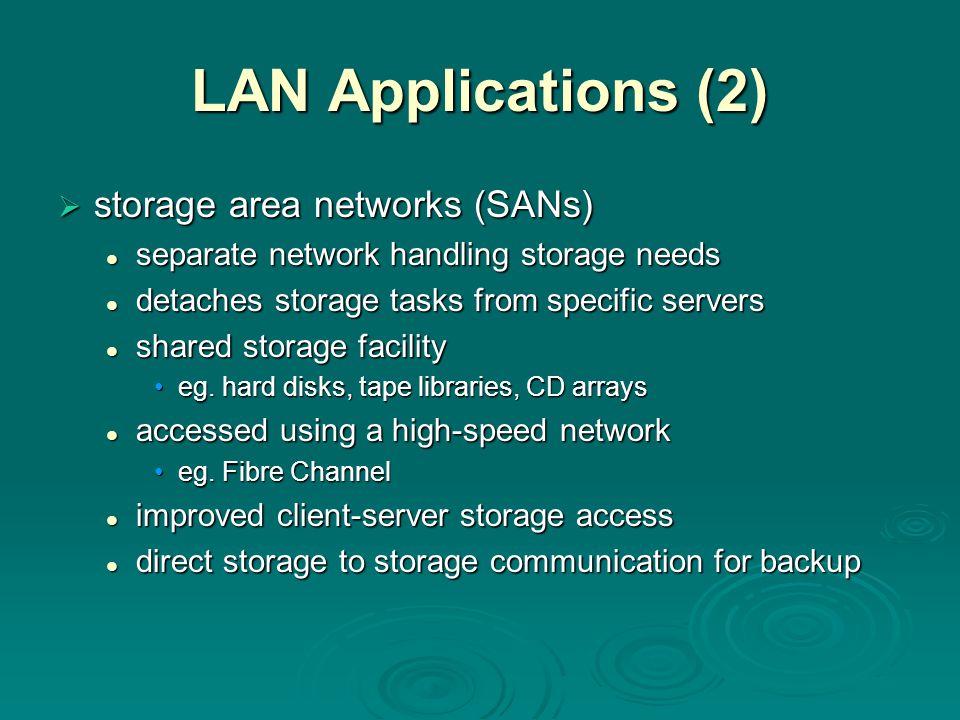 LAN Applications (2) storage area networks (SANs)