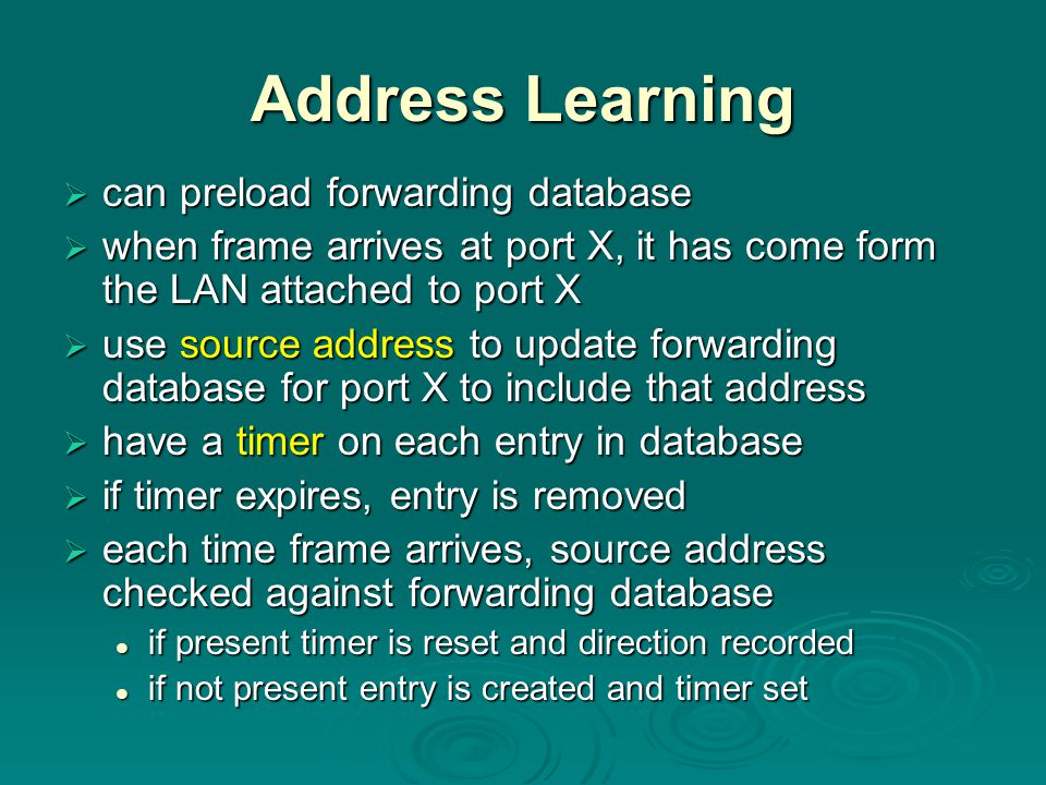 Address Learning can preload forwarding database