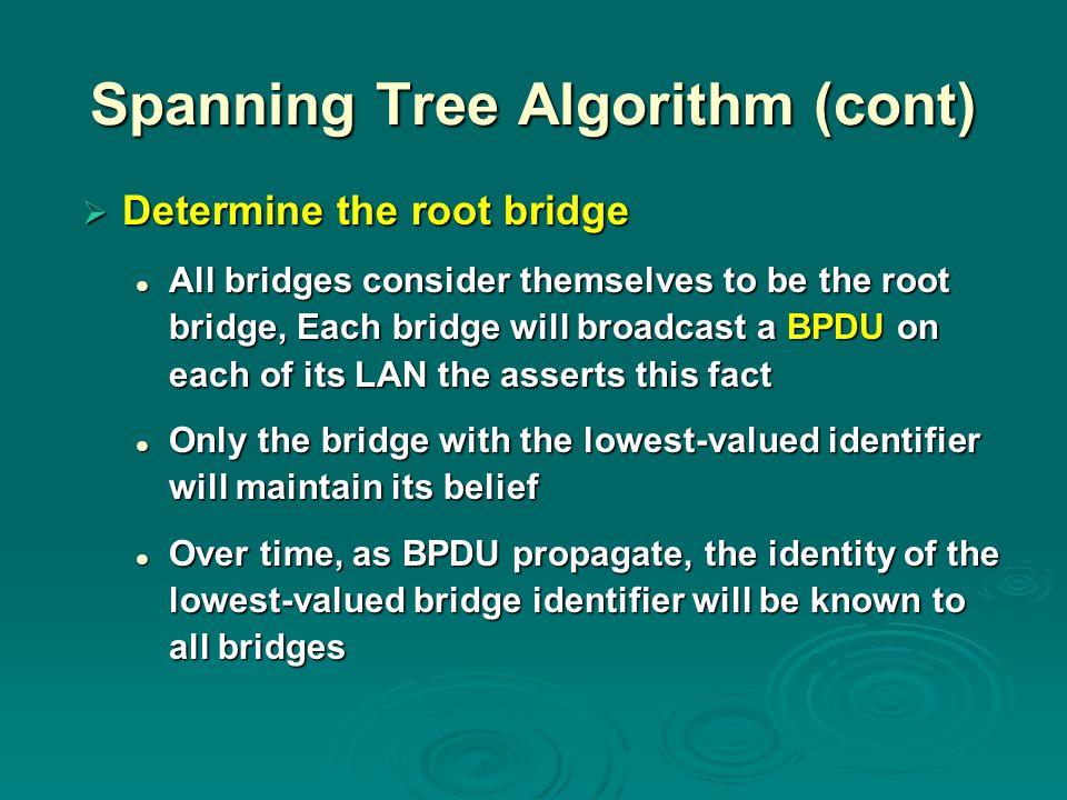 Spanning Tree Algorithm (cont)