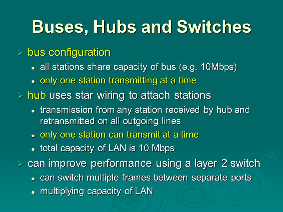 Buses, Hubs and Switches