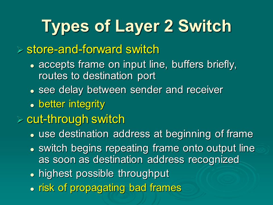 Types of Layer 2 Switch store-and-forward switch cut-through switch
