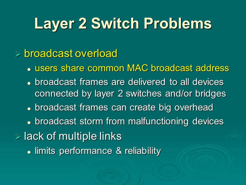 Layer 2 Switch Problems broadcast overload lack of multiple links