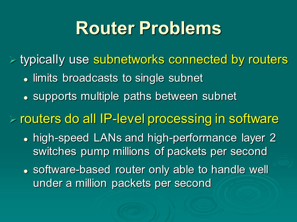 Router Problems routers do all IP-level processing in software