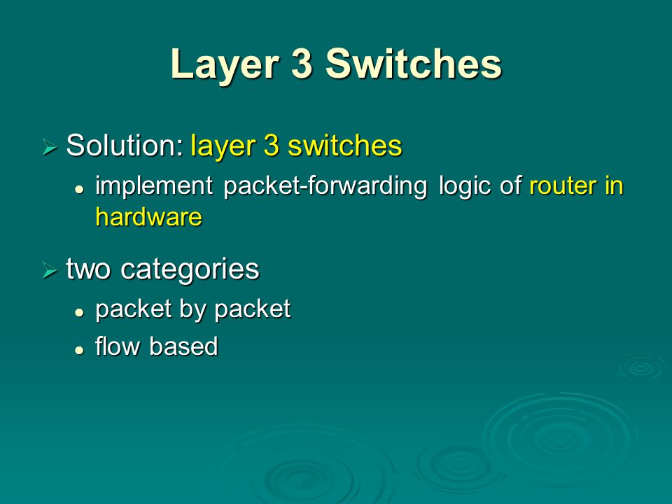 Layer 3 Switches Solution: layer 3 switches two categories