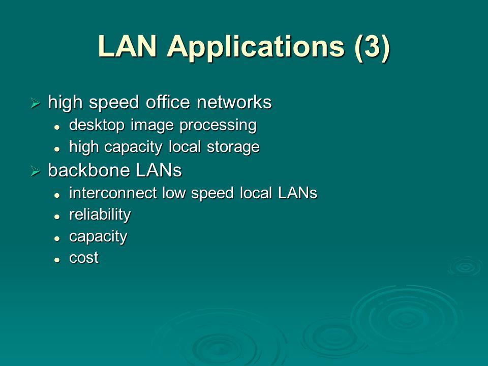 LAN Applications (3) high speed office networks backbone LANs