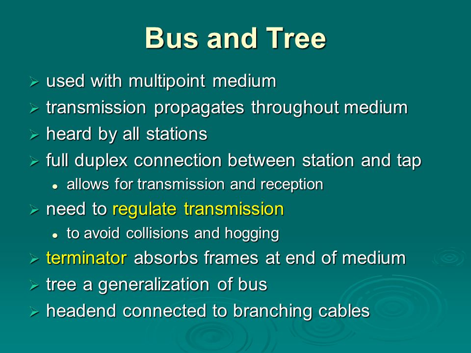 Bus and Tree used with multipoint medium