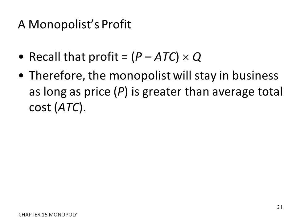 Recall that profit = (P – ATC)  Q