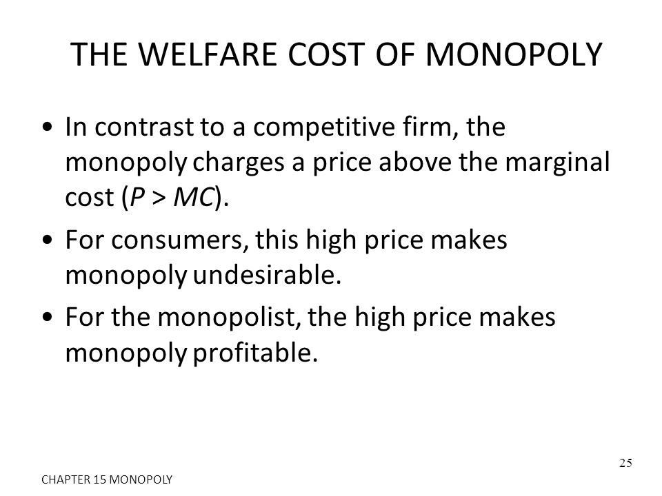 THE WELFARE COST OF MONOPOLY