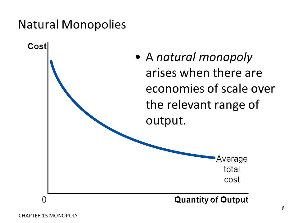 Natural Monopolies Cost. A natural monopoly arises when there are economies of scale over the relevant range of output.