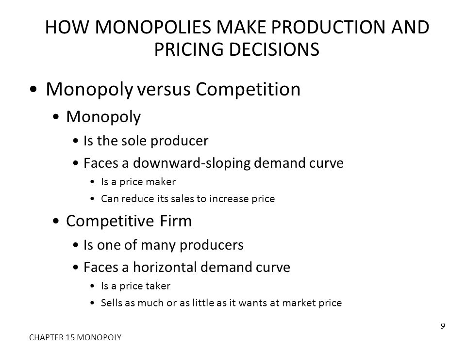HOW MONOPOLIES MAKE PRODUCTION AND PRICING DECISIONS