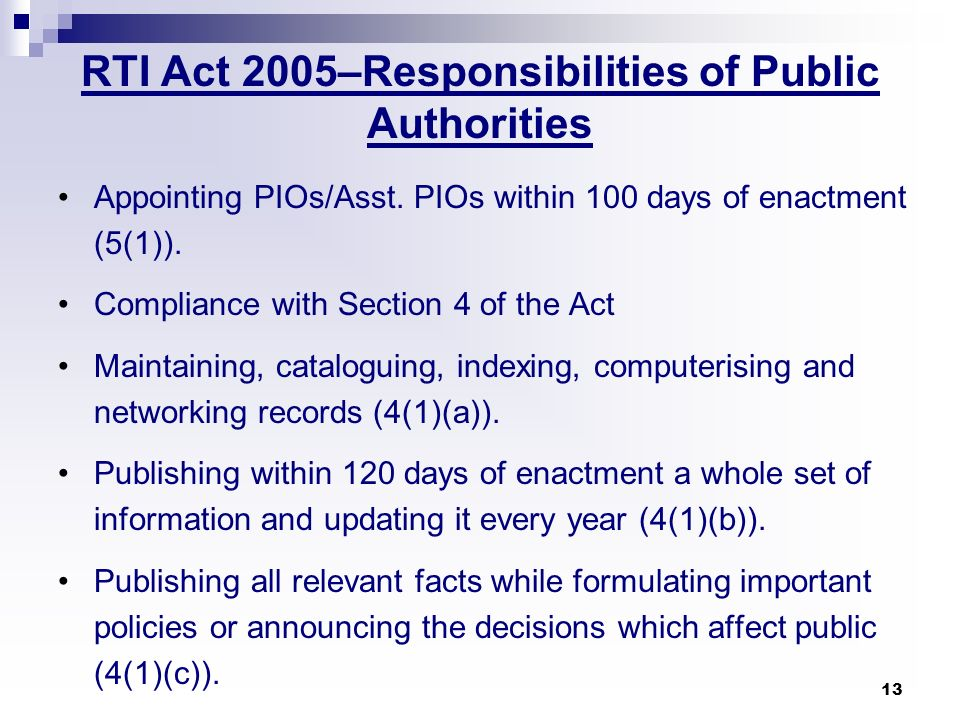 RTI Act 2005–Responsibilities of Public Authorities