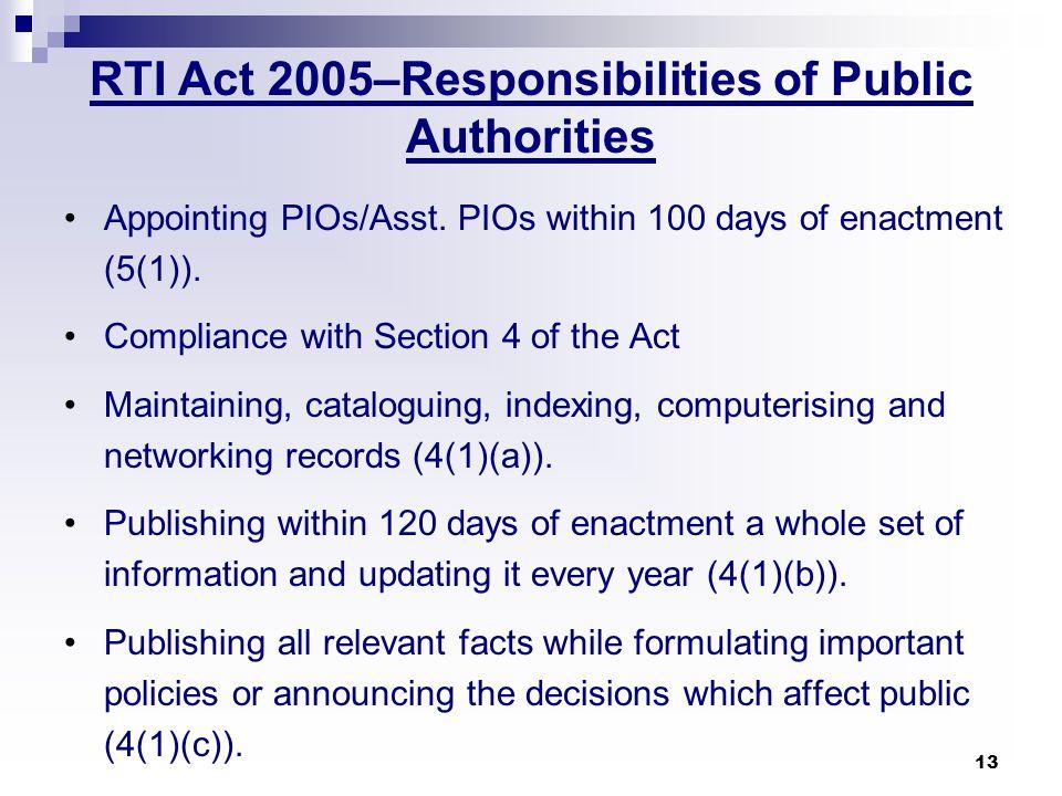 RTI Act 2005–Responsibilities of Public Authorities