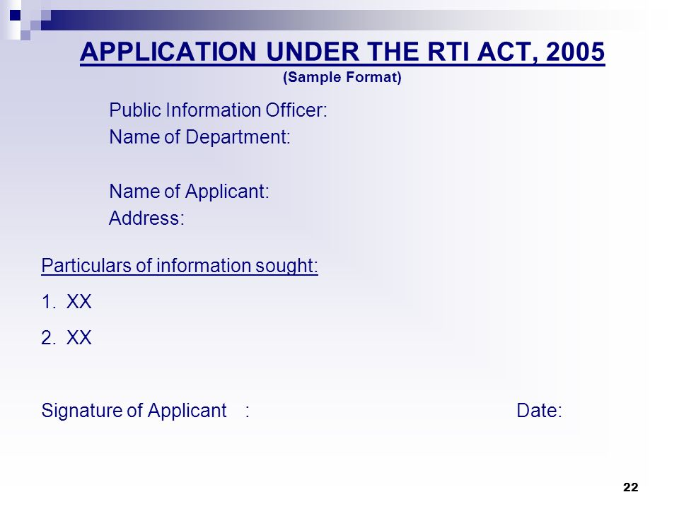 APPLICATION UNDER THE RTI ACT, 2005 (Sample Format)