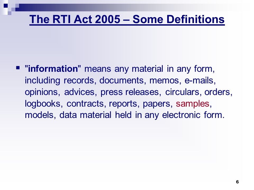 The RTI Act 2005 – Some Definitions