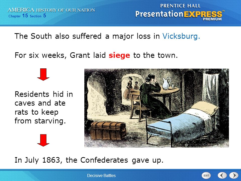 The South also suffered a major loss in Vicksburg.