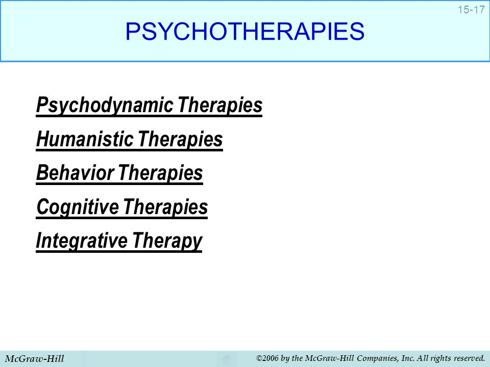 PSYCHOTHERAPIES Psychodynamic Therapies Humanistic Therapies