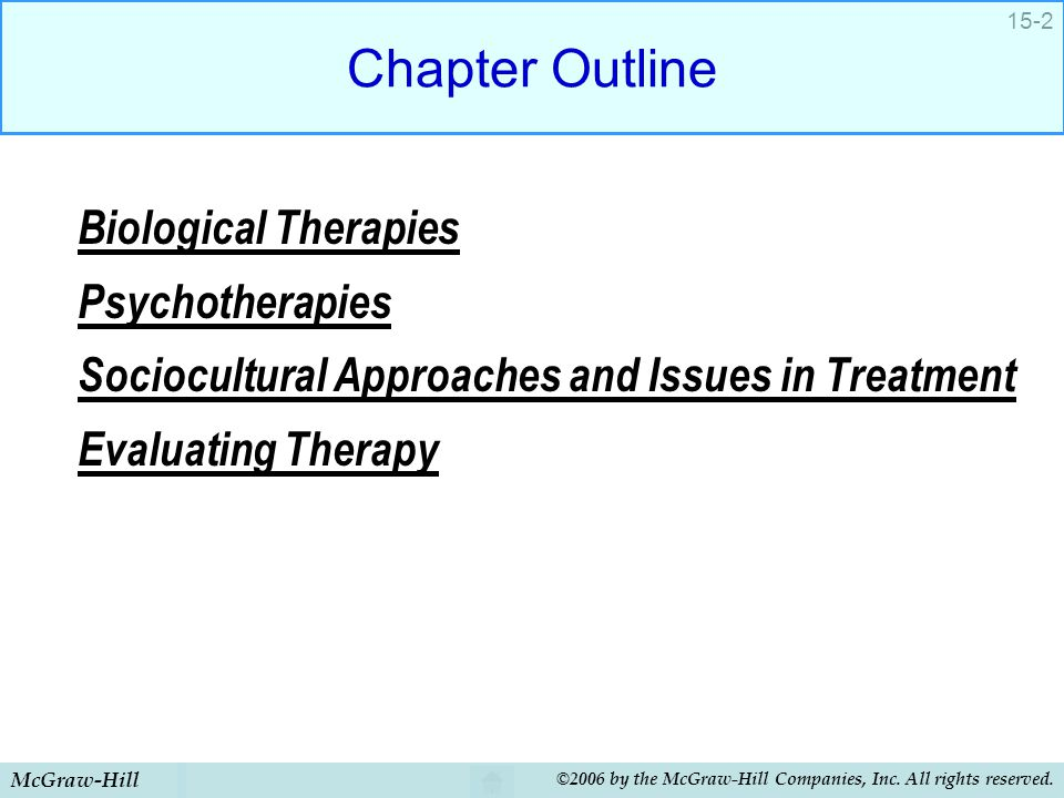 Chapter Outline Biological Therapies Psychotherapies