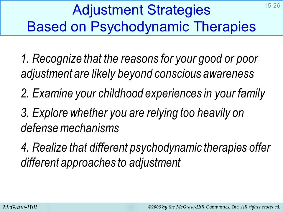 Adjustment Strategies Based on Psychodynamic Therapies