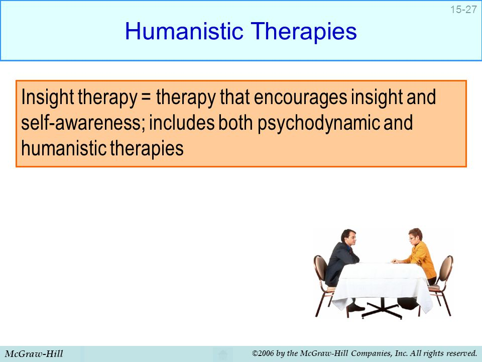 Humanistic Therapies Insight therapy = therapy that encourages insight and self-awareness; includes both psychodynamic and humanistic therapies.