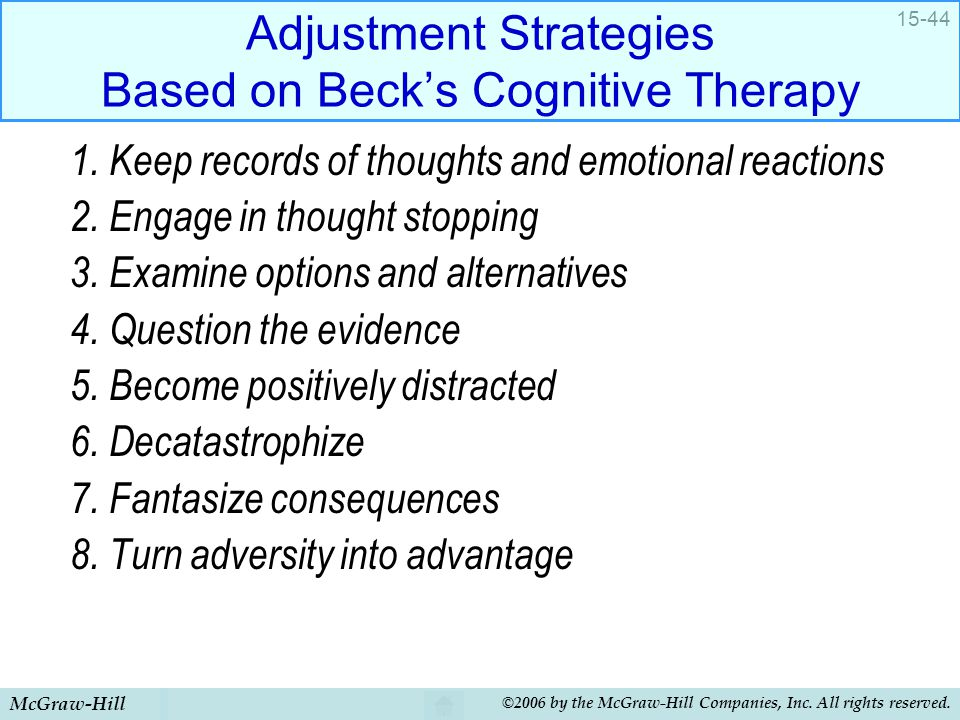 Adjustment Strategies Based on Beck's Cognitive Therapy