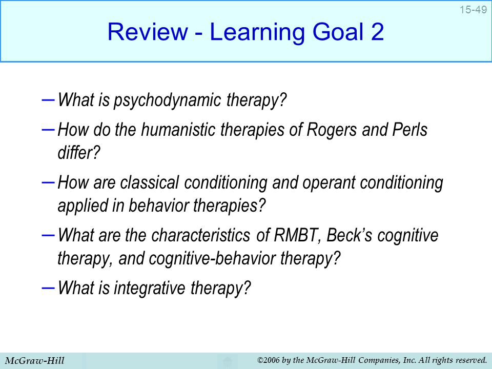 Review - Learning Goal 2 What is psychodynamic therapy