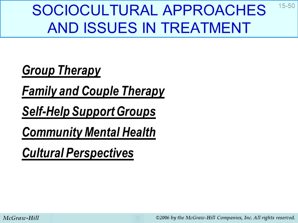 SOCIOCULTURAL APPROACHES AND ISSUES IN TREATMENT