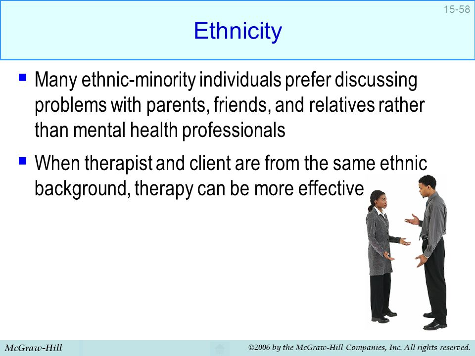 Ethnicity Many ethnic-minority individuals prefer discussing problems with parents, friends, and relatives rather than mental health professionals.