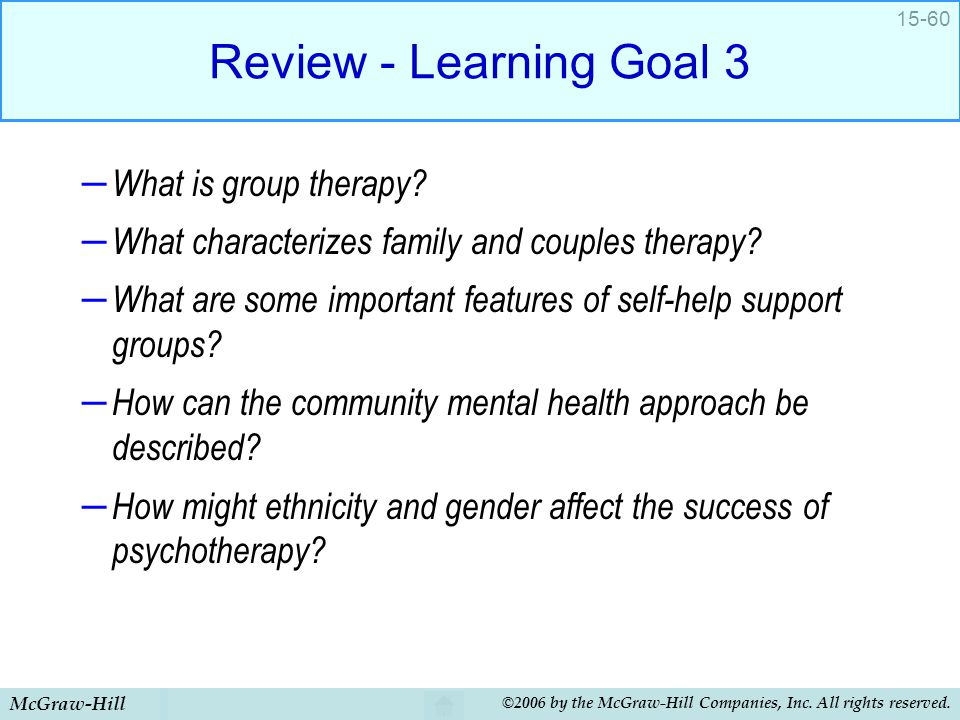 Review - Learning Goal 3 What is group therapy