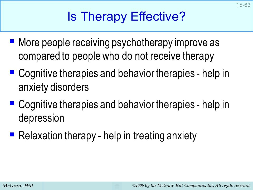 Is Therapy Effective More people receiving psychotherapy improve as compared to people who do not receive therapy.