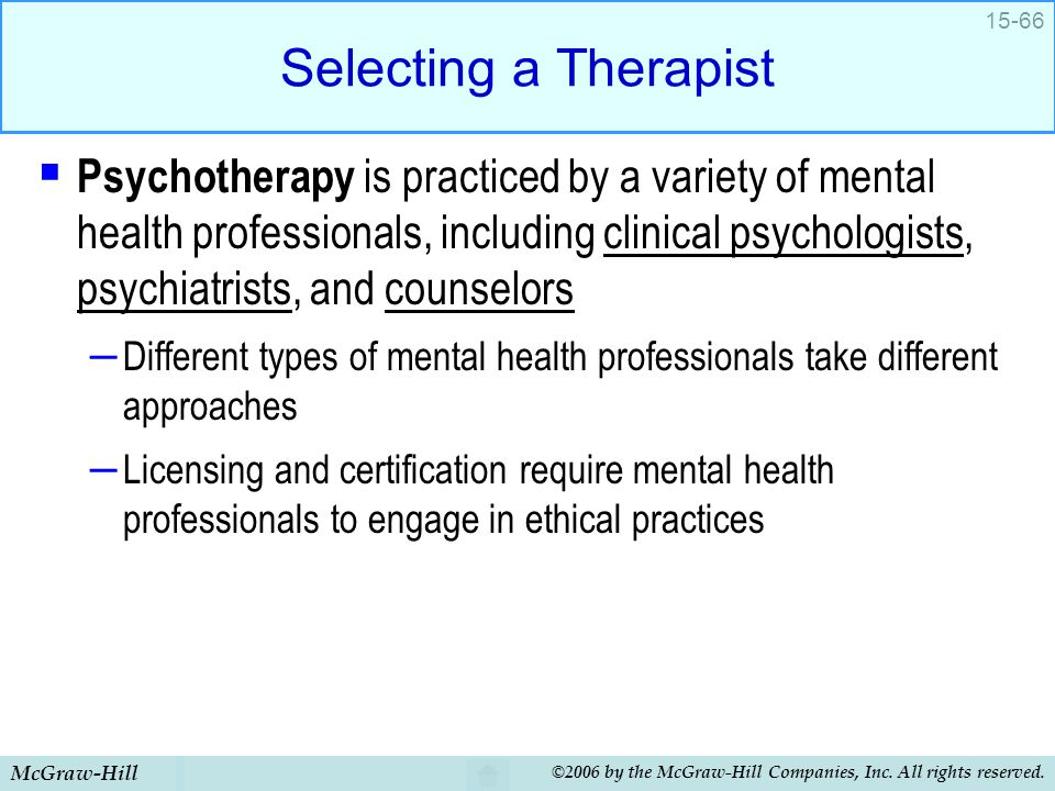 Selecting a Therapist