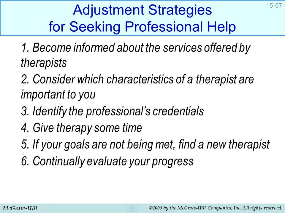 Adjustment Strategies for Seeking Professional Help
